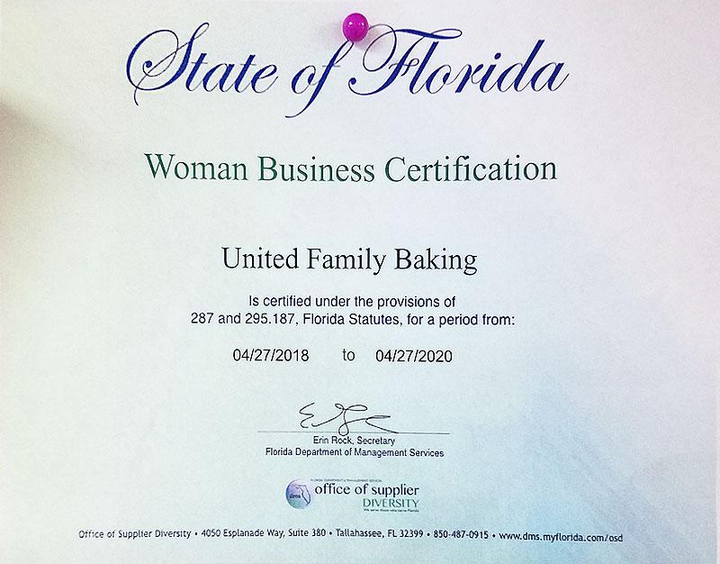 Woman Business Certification | Ninos Bakery & Restaurant