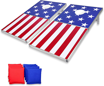 American flag themed cornhole boards with red and blue bean bags