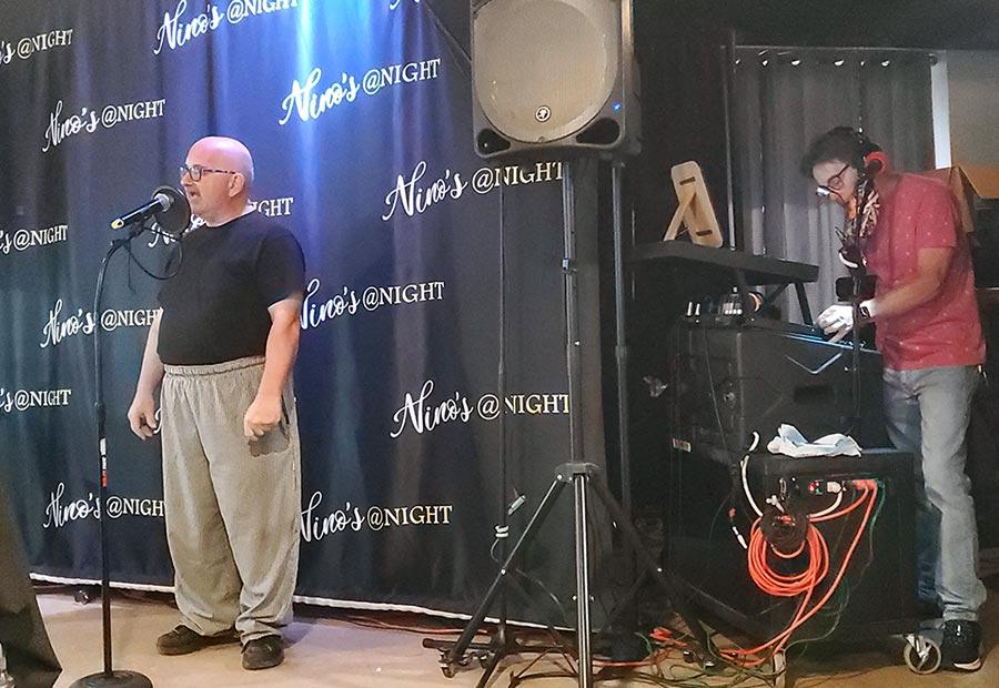 Nino singing Karaoke with Danny Beach